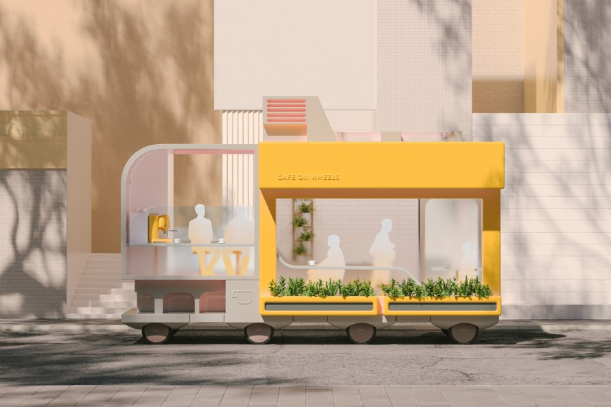 Rendering of Ikea's Cafe on Wheels