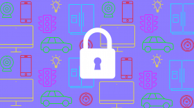 Illustration of a lock superimposed over a collage of home gadgets