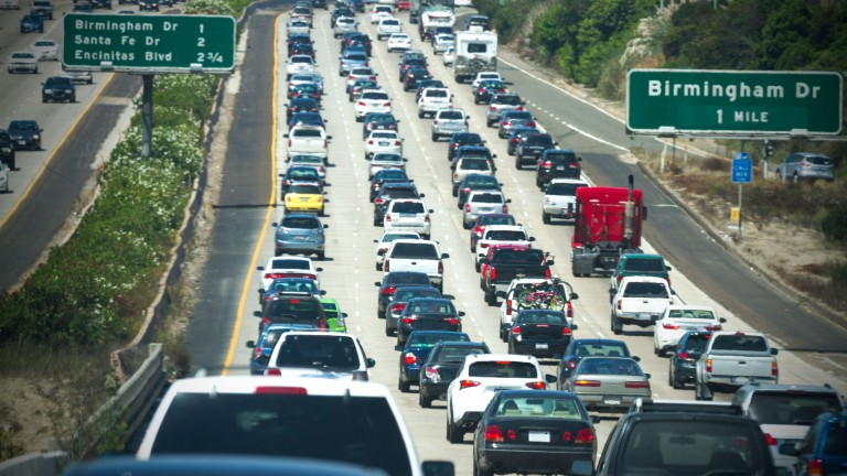 Cars queuing in California