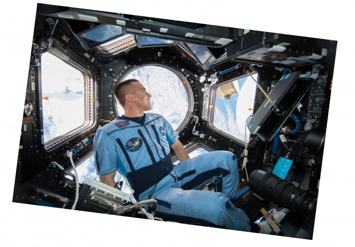 An image of Chris Cassidy in a spaceship