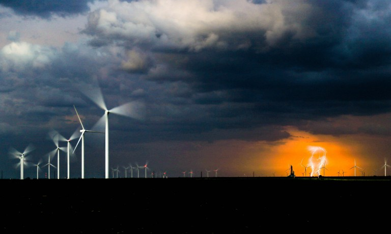 Wind Turbines and a lightning strike