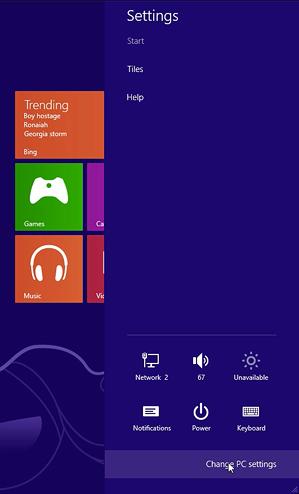 Windows 8 charms interface