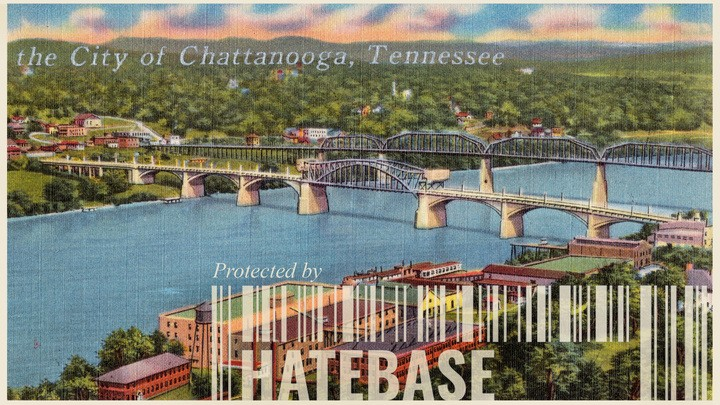 A postcard picture of Chattanooga, Tennessee, with Hatebase's logo at the bottom