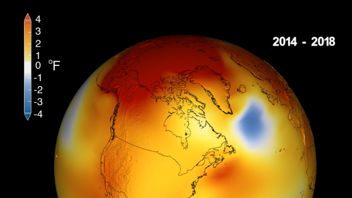 A depiction of how temperatures have risen over North America from 2014 to 2018