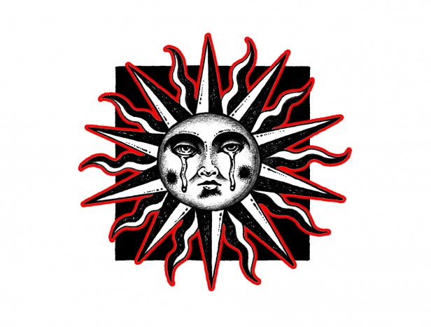 Illustration of crying sun