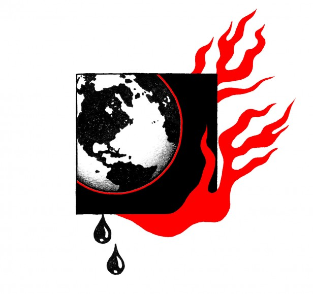 Illustration of the earth engulfed in flames