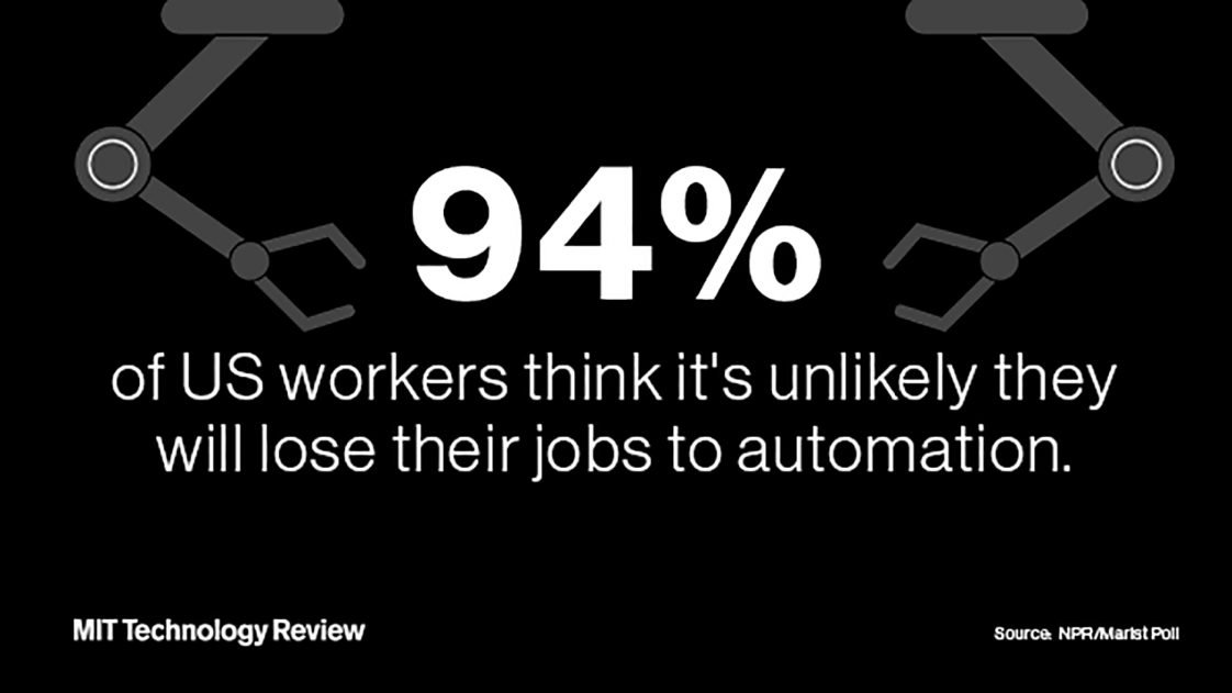 94 percent of US workers think it is unlikely that they will lose their jobs to automation stat graphic