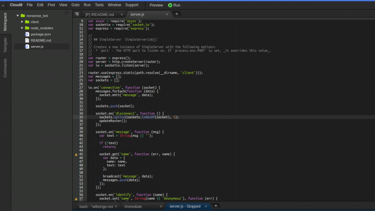 a screenshot of the Amazon Cloud9 IDE interface