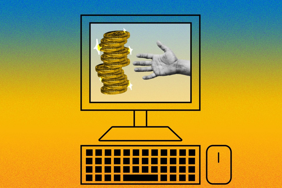 An illustration of a hand reaching for coins  on a computer monitor screen