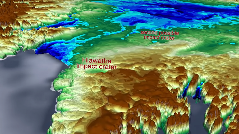 Topographical image of Greenland showing the two possible craters.