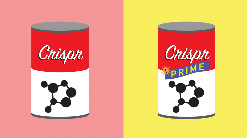Conceptual illustration of two cans, one regular Crispr, one Prime