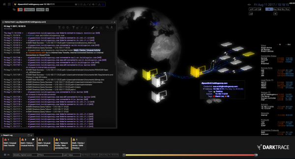 Image of Darktrace computer platform interface.
