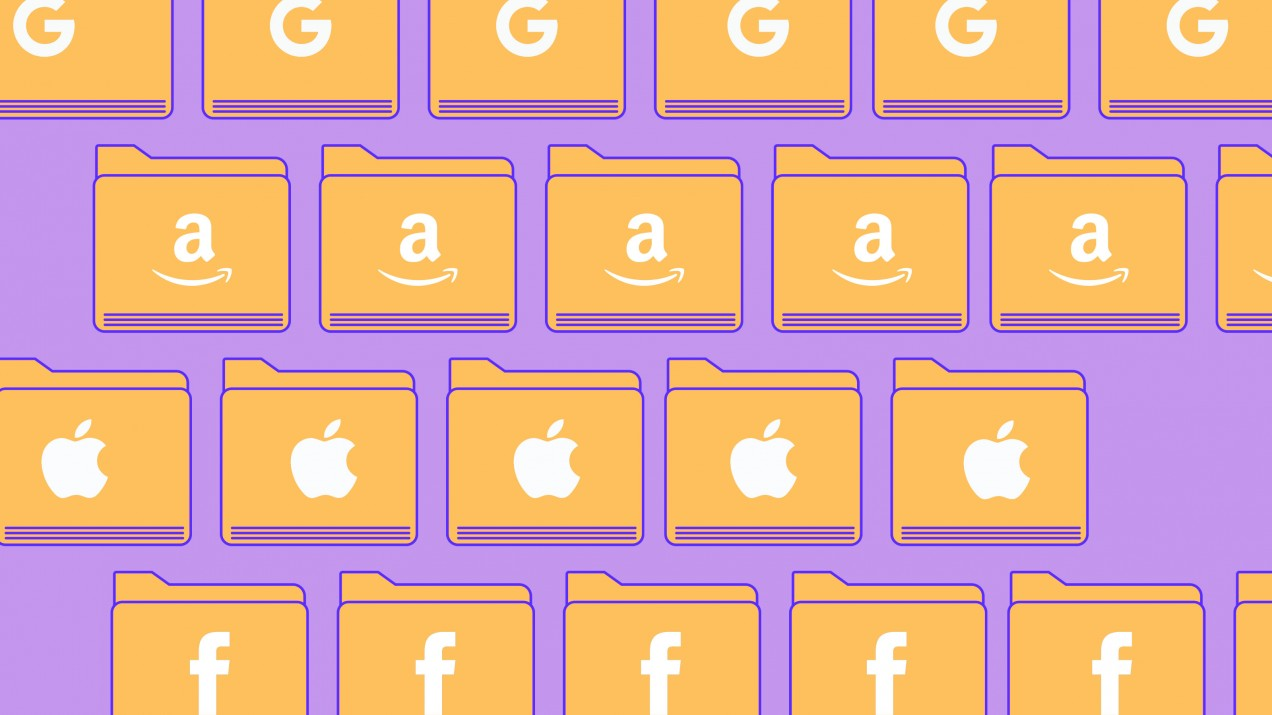 An image of file folders with Google, Amazon, Apple, and facebook logos