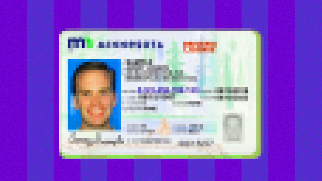 An image of a pixelated ID card