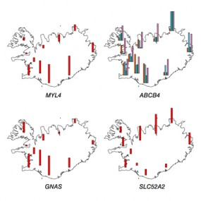 Maps show how common certain risk-causing DNA mutations are around Iceland.