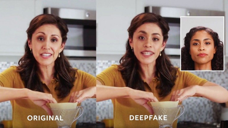 An example circulated by Facebook of two women making coffee: one is a deepfake.