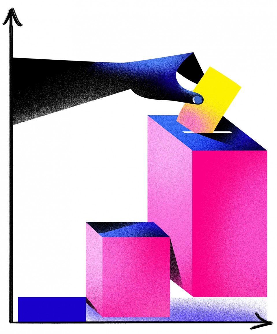 Conceptual illustration of voting and the economy