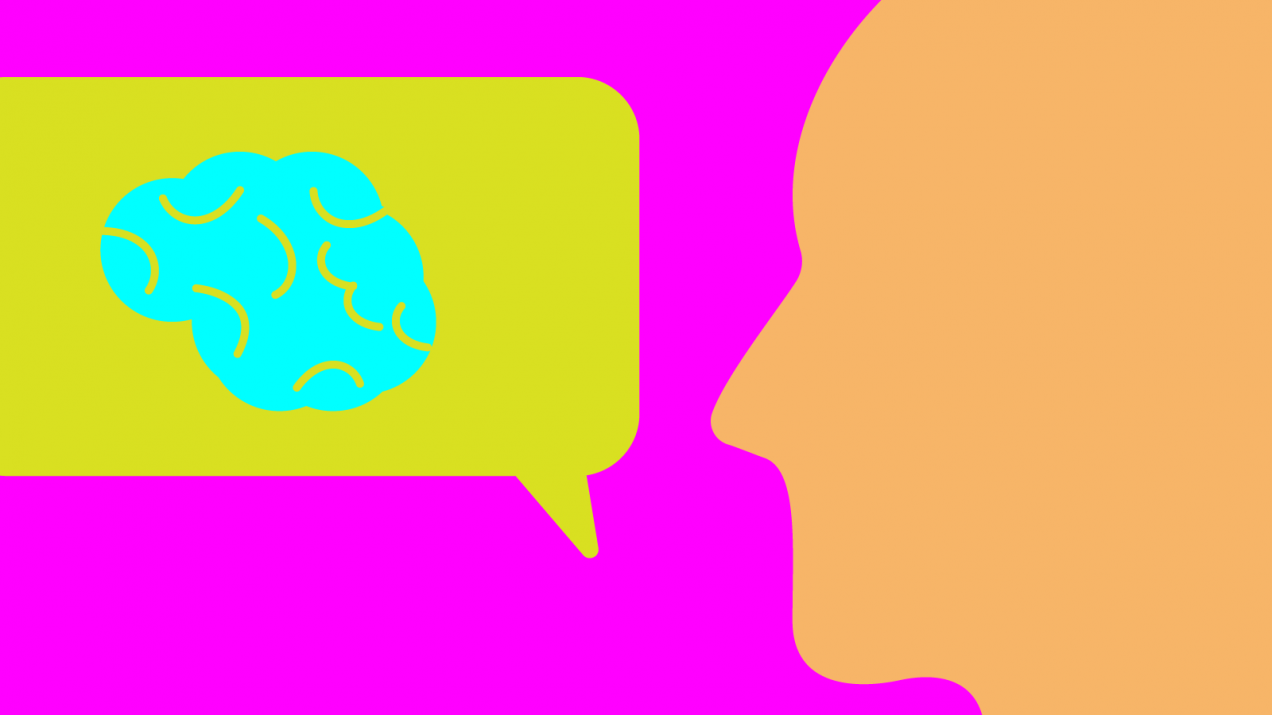 Illustration of person with speech bubble showing a brain within it.