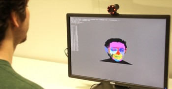 computer with Microsoft image of person's face