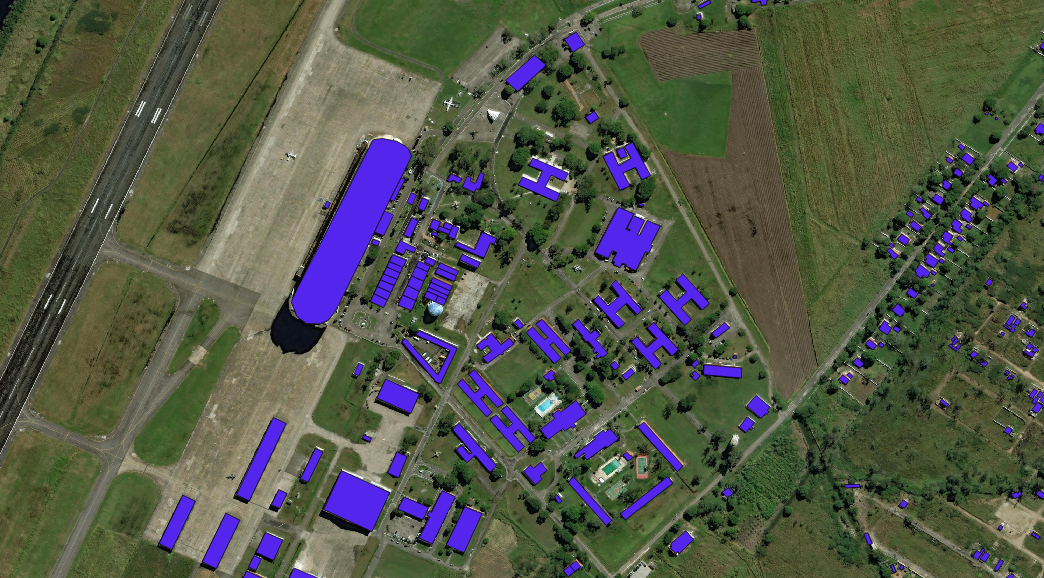 software will be trained to label buildings in satellite images using a data set of images like this one