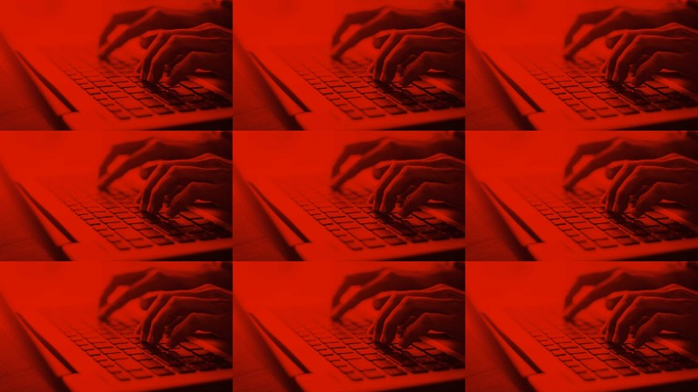 A gridded image showing hands typing on keyboards