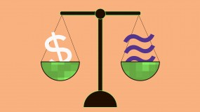 An image of a scale with a dollar sign  on one side and the Libra logo on the other