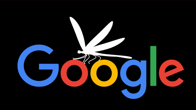 The Google logo with a dragonfly beside it