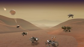 An artist's concept image of the dragonfly drones landing on Saturn's moon Titan and then taking flight.