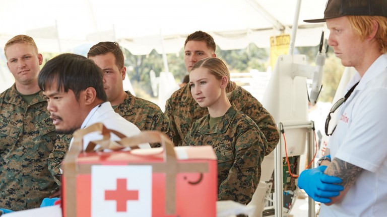 US Marines on a medical drone exercise