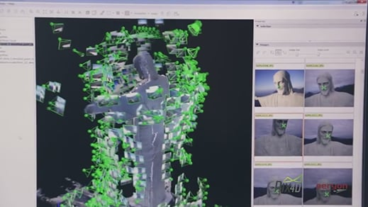 Software screen shot shows stitches of a high-resolution 3-D model