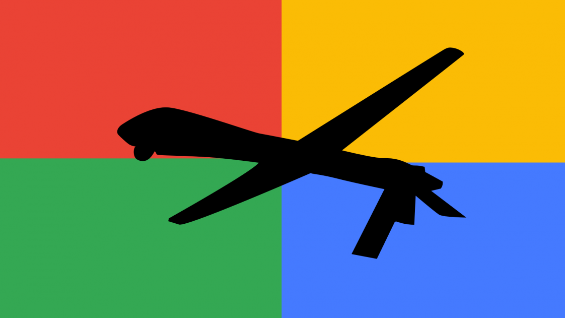An illustration of a military drone with Google's color as the background