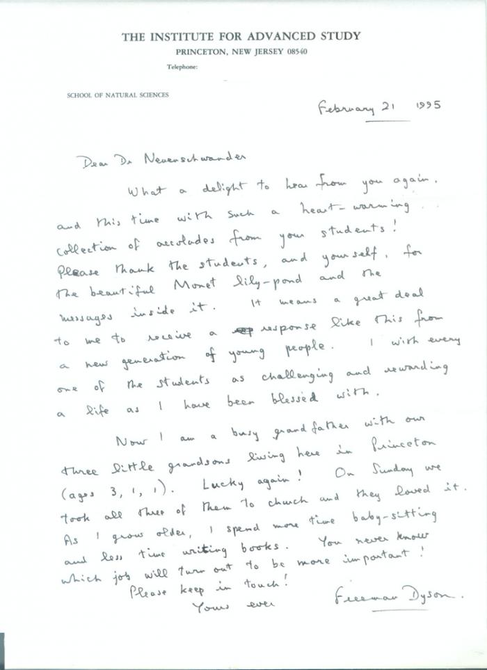 A 1995  letter from Freeman Dyson to Dwight Neuenschwander