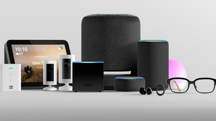 Amazon's suite of Alexa-enabled products, including the Echo, Echo Loop, and Echo Frames.
