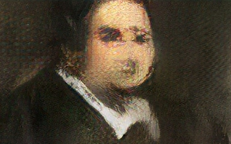 A smudged portrait of a gentleman wearing a dark frockcoat and white collar