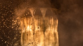 An image of rocket exhaust pipes on takeoff