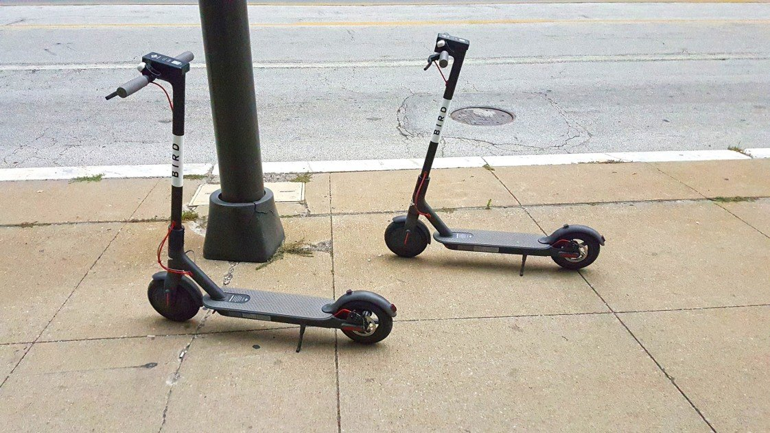 An electric scooter from the startup Bird, which Uber will compete with.