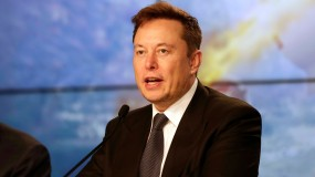 Elon Musk addresses reporters at a SpaceX press conference