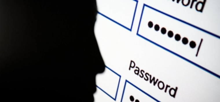 A silhouette of a person besides a screen containing passwords