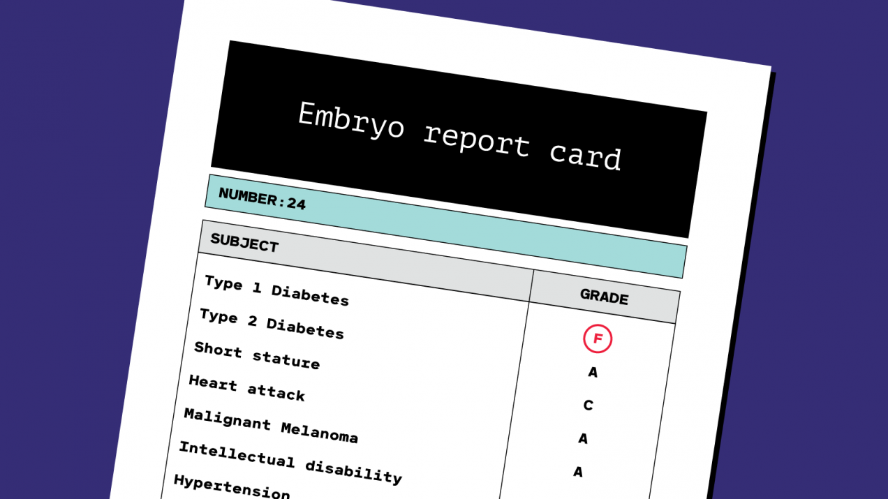 conceptual illustration of an embryo report card