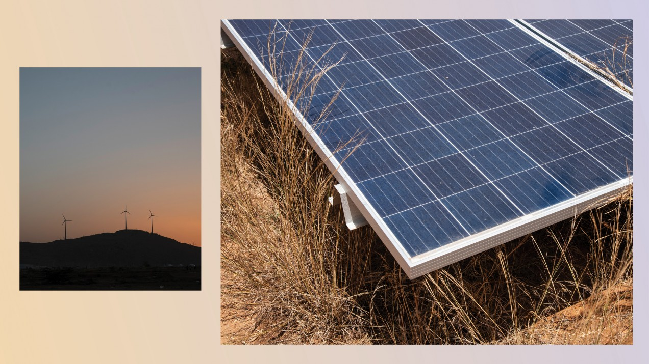Photo collage showing a landscape with wind turbines in the distance and a close up of a solar panel.