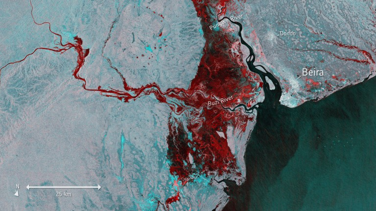 An image from a European Space Agency satellite showing the extent of Cyclone Idai's damage