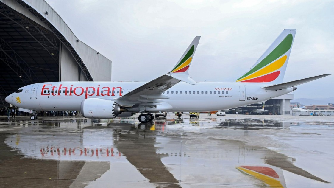 A grounded Ethiopian Airlines Boeing 737 MAX plane