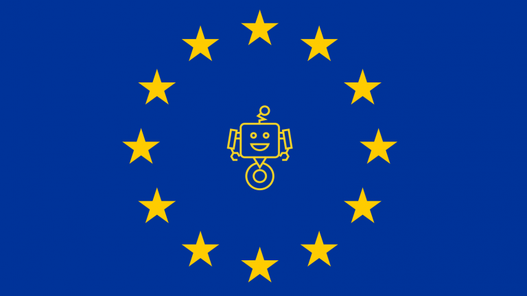 Image of the EU flag with a drawing of a robot in the middle of the circle of stars