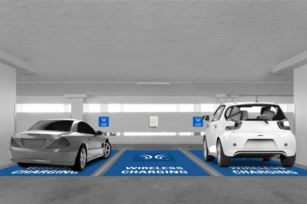 Rendering of cars on charging platforms in parking garage.
