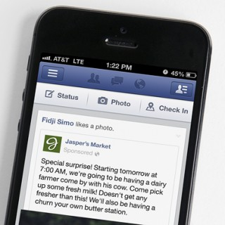 facebook page on mobile device