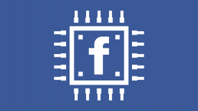 An illustration of a computer chip with the facebook logo in the center
