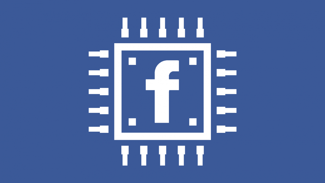 """An illustration of a computer chip with the Facebook """"f"""" in the center"""