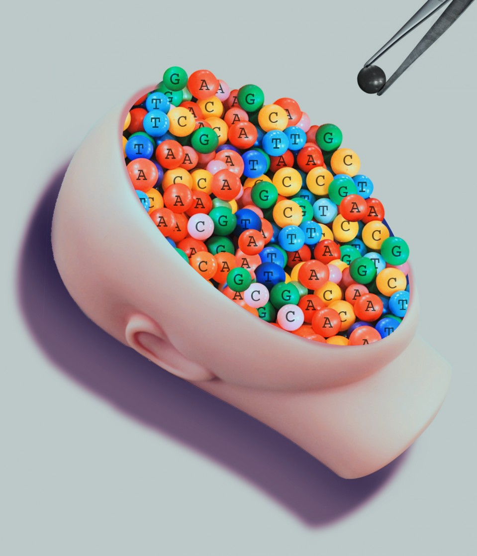 Photo illustration of a doll's face filled with colorful beads each containing a letter of a nucleotide. A black, unmarked bead appears in a set of tweezers above the face.