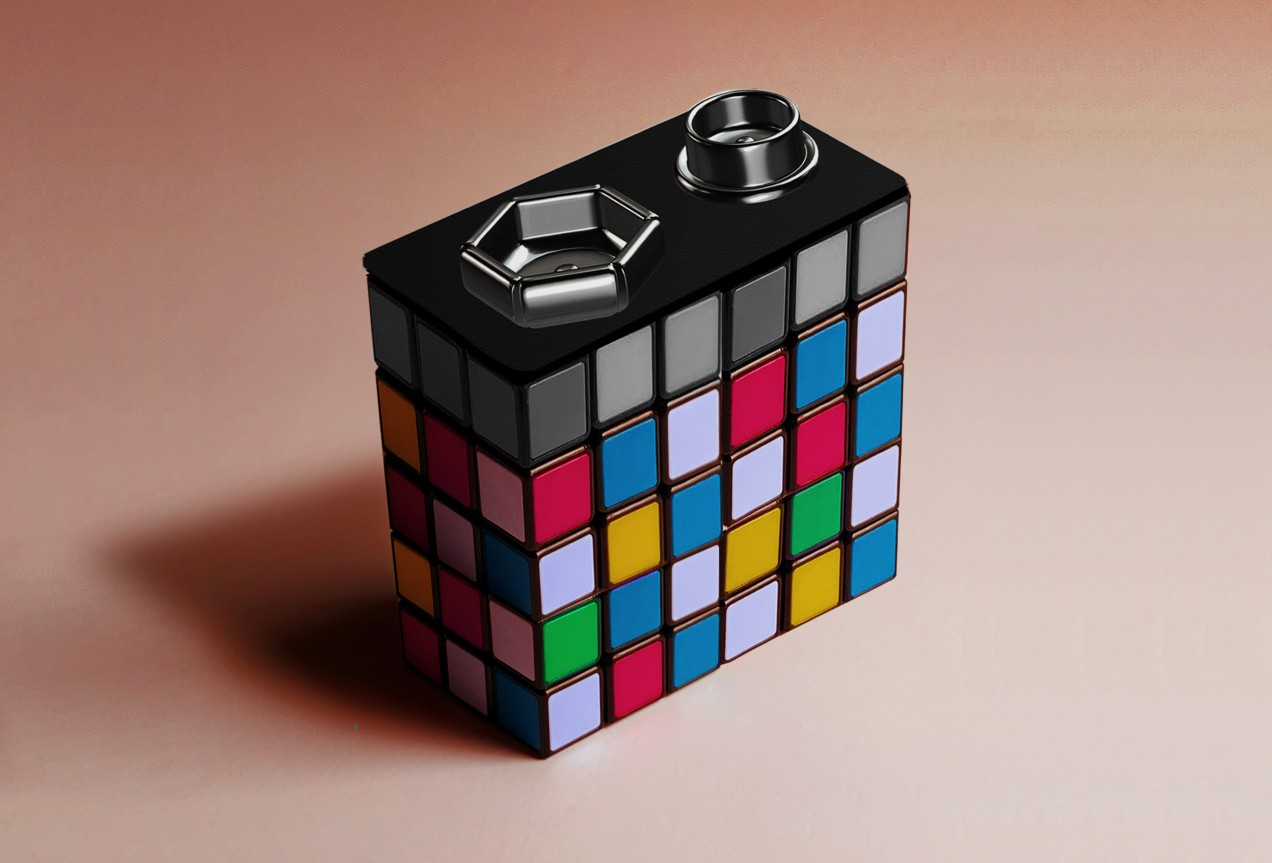 Conceptual illustration of a battery made out of a rubiks cube puzzle