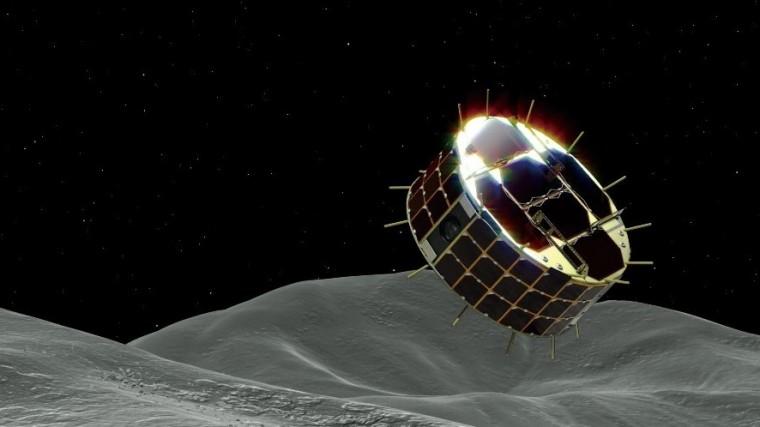 Image of rover landing on Ryugu asteroid.